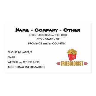 Patatas fritas divertidas plantilla de tarjeta de negocio