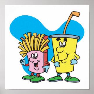 patatas fritas e individuos tontos del refresco póster