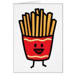 Patatas fritas felices tarjeta de felicitación