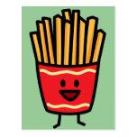Patatas fritas felices tarjetas postales