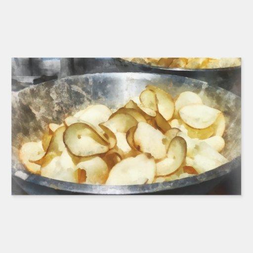 Patatas fritas frescas rectangular pegatinas