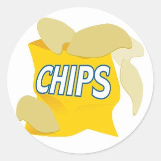 patatas fritas etiqueta redonda