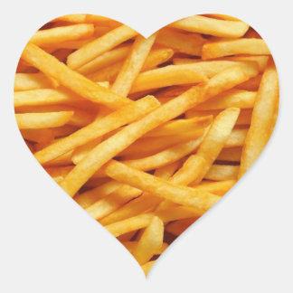 Patatas fritas pegatina en forma de corazón