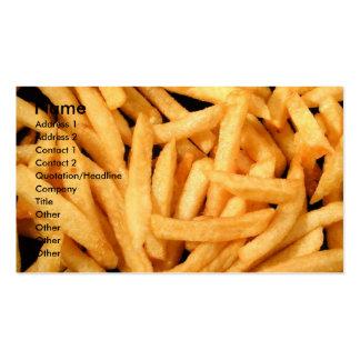 Patatas fritas tarjetas de negocios