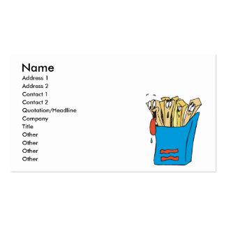 patatas fritas tontas del dibujo animado tarjetas de visita