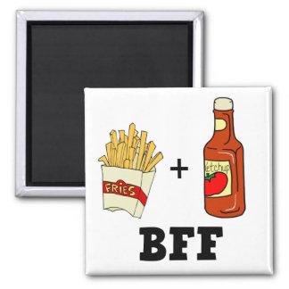 Patatas fritas y salsa de tomate BFF Imán Cuadrado