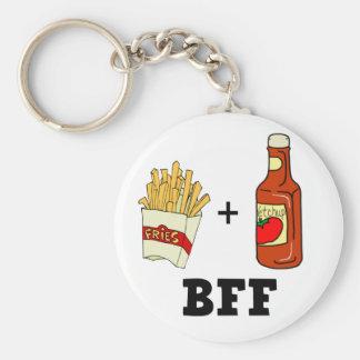 Patatas fritas y salsa de tomate BFF Llavero Redondo Tipo Pin