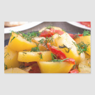 Patatas guisadas con el primer del paprika pegatina rectangular