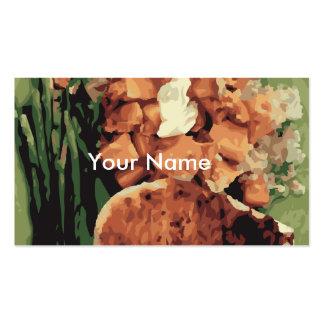 Patatas hechas en casa calientes y habas verdes tarjetas de visita