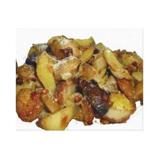 patatas y cebollas fritas con cheese.jpg impresión en lona estirada