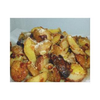 patatas y cebollas fritas con el queso 2 impresiones en lona