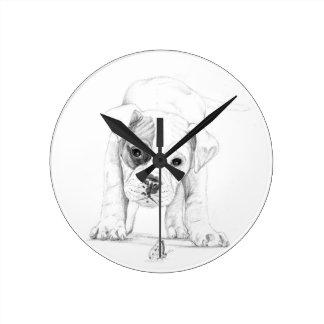 Patch A Boxer Puppy Drawing Art Round Wallclocks