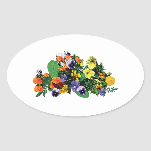 Patch of Pansies Oval Sticker