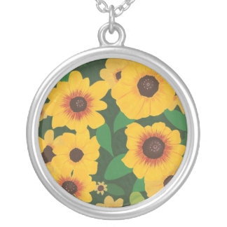 Patch of Yellow Sunflowers Painting Necklace