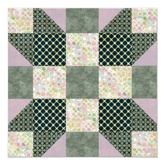 Patch Star Dk Green and Lavender Card