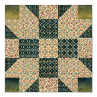 Patch Star Gold & Green Calico Card