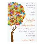 "Patch Work Flower Love Tree Wedding Invitation 5"" X 7"" Invitation Card"