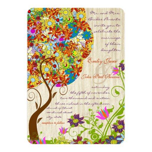 Patch Work Flower Love Tree Wood Grain Wedding Custom Announcement