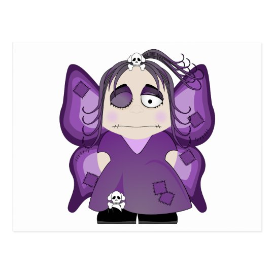 Patched Gothic Fairy In Purple Postcard