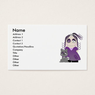 Patched Gothic Girl And Cat In Purple Business Card