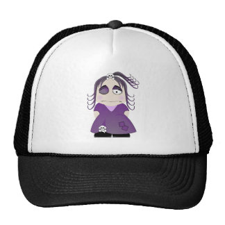 Patched Gothic Girl In Purple Trucker Hats