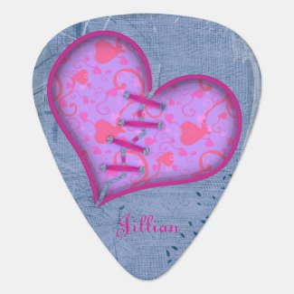 Patched Heart Guitar Photograph Guitar Pick