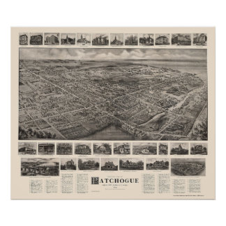 Patchogue mapa panorámico de NY - 1906 Poster