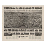 Patchogue, mapa panorámico de NY - 1906 Póster