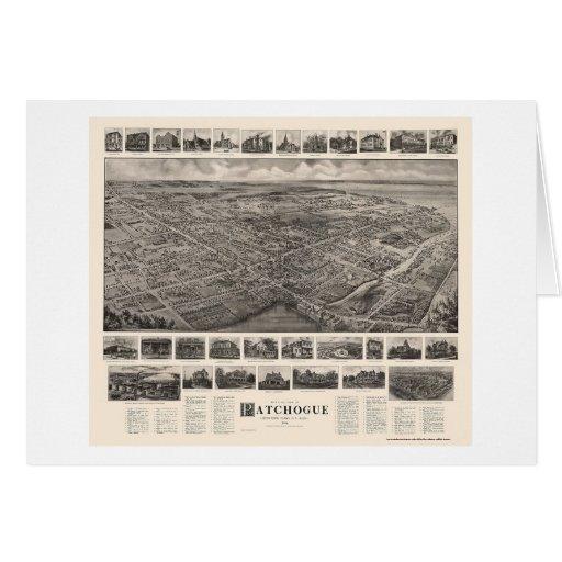 Patchogue, mapa panorámico de NY - 1906 Tarjeta De Felicitación