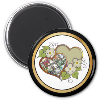 Patchwork 05 Olive Green 2 Inch Round Magnet