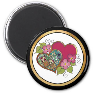 Patchwork 10 Ruby Red 2 Inch Round Magnet