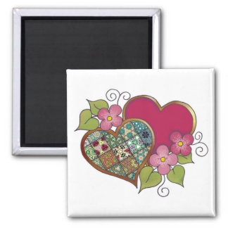 Patchwork 10 Ruby Red 2 Inch Square Magnet