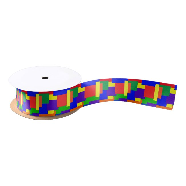 Patchwork Abstract Design Rainbow Pattern Ribbon