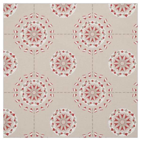 Patchwork abstract mandala pattern red beige fabric