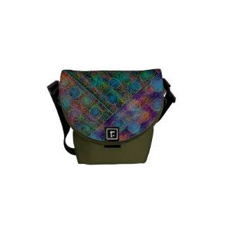 Patchwork Abstract Shoulder Bag, Olive Courier Bag