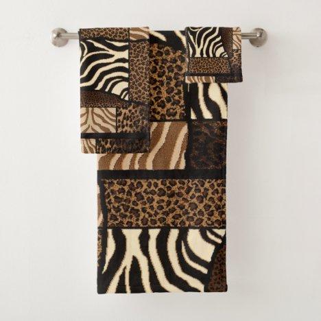 Patchwork African Animal Pattern Bath Towel Set
