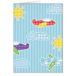 Patchwork Airplanes Greeting Card