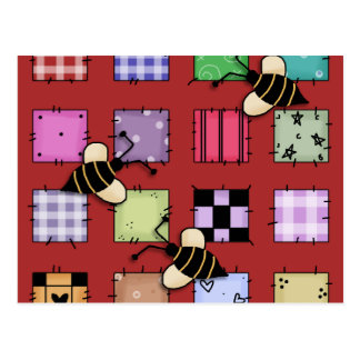 Patchwork and Bumble Bees Postcard