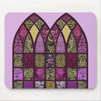 Patchwork Arch in Raspberry and Purple Mouse Pad