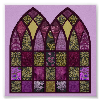 Patchwork Arches in Pinks, Purples and Rasberry Poster