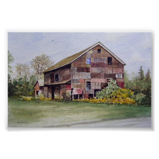Patchwork Barn-poster Poster