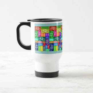 Patchwork Bicycles Art 15 Oz Stainless Steel Travel Mug