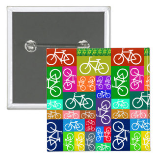 Patchwork Bicycles Art Pinback Buttons