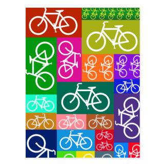 Patchwork Bicycles Art Postcard