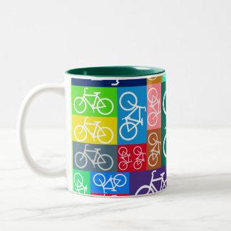 Patchwork Bicycles Art Two-Tone Coffee Mug