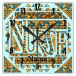 Patchwork Blue Gold Nurse Square Wall Clock