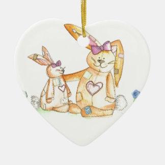 patchwork bunnies/ bunny rabbit ceramic heart decoration