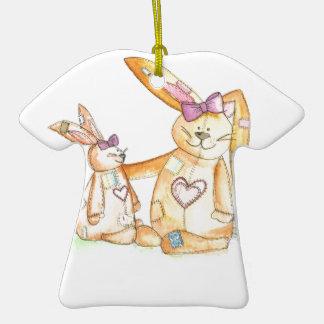 patchwork bunnies/ bunny rabbit ceramic T-Shirt decoration