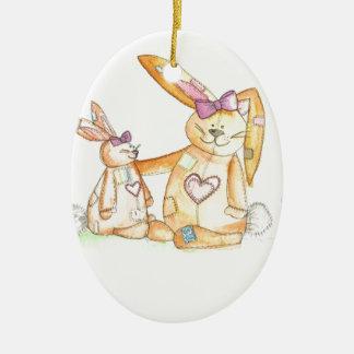 patchwork bunnies/ bunny rabbit ceramic oval decoration