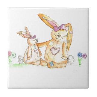 patchwork bunnies/ bunny rabbit tile